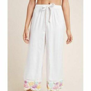 Anthropologie Pennbrooke Embroidered Sleep Pants L